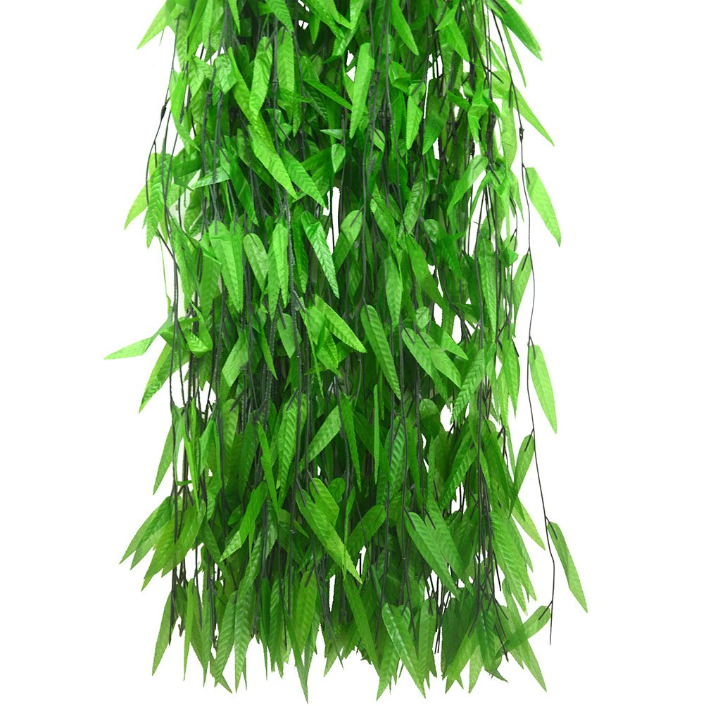 Beebel 50 Strands Artificial Vine Fake Leaves Silk Willow Rattan Wicker Twig for Jungle Party Supplies