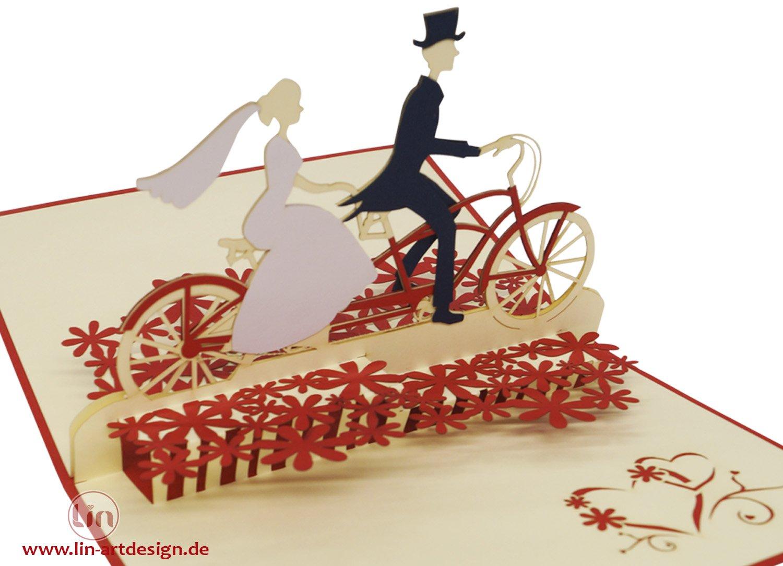 Lin de Pop up Cartes de mariage mariage cartes Couple de mari/és /à v/élo invitations Valentin Cartes cartes 3D Cartes de v/œux F/élicitations cartes de mariage amour