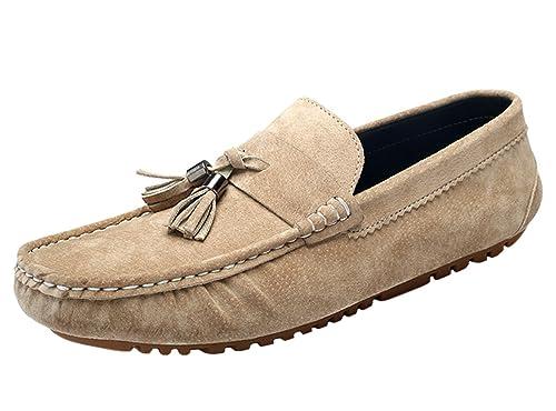 SK Stutio Mocasines de Cuero para Hombre Casual Moda Loafers Slip On Planos Zapatos de Conducción Zapatillas: Amazon.es: Zapatos y complementos