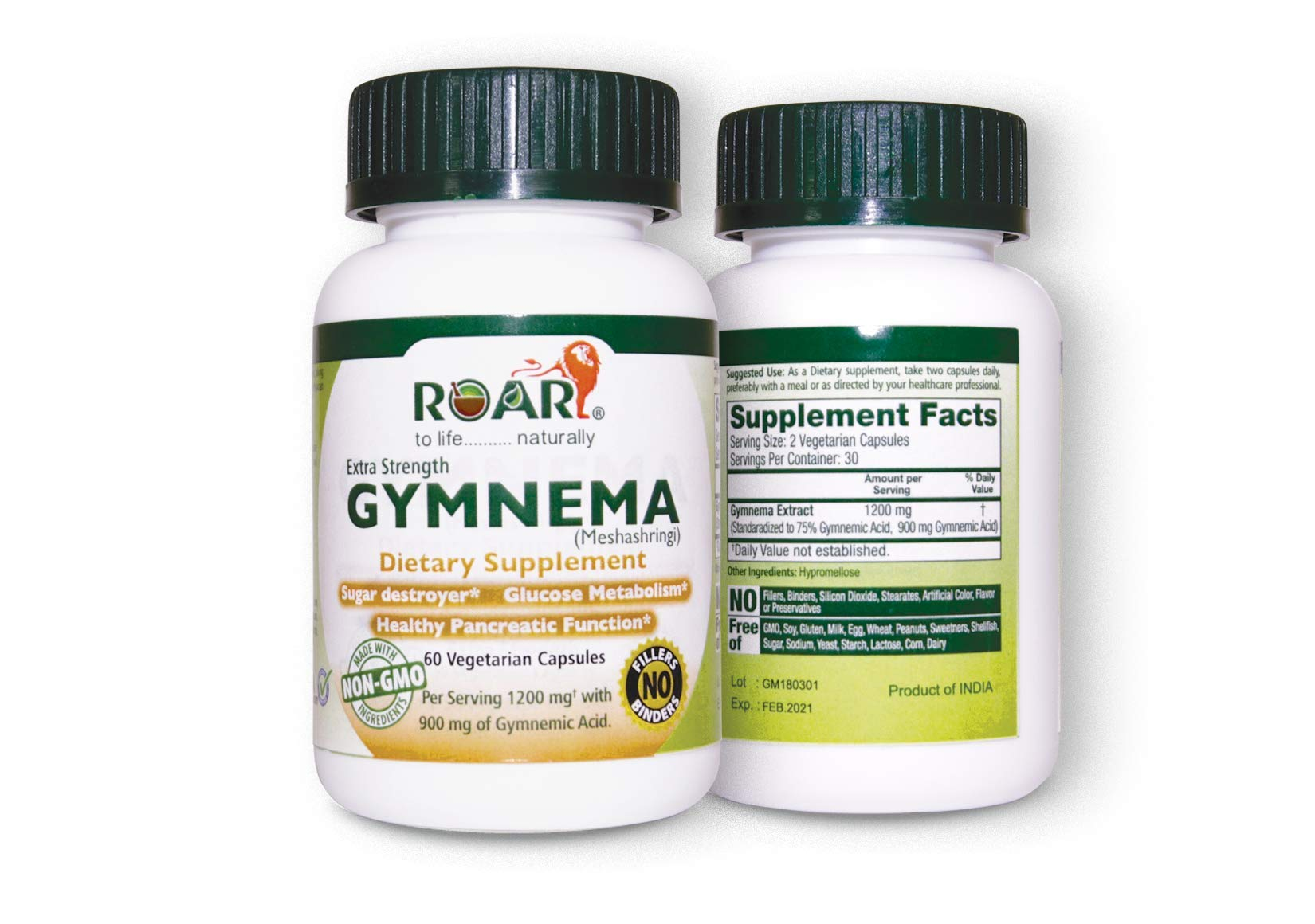 Gymnema Sylvestre 1200 mg (Highest Potency) Extract Veg Capsules with 75% Gymnemic Acids as Sugar Destroyer & for Blood Sugar Support & Healthy Glucose Metabolism