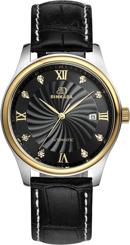 BINKADAメンズ自動機械ビジネスカジュアル防水Watch for Mens Watches Black Band-Gold Case-Black Dial B015EBTU32Black Band-Gold Case-Black Dial