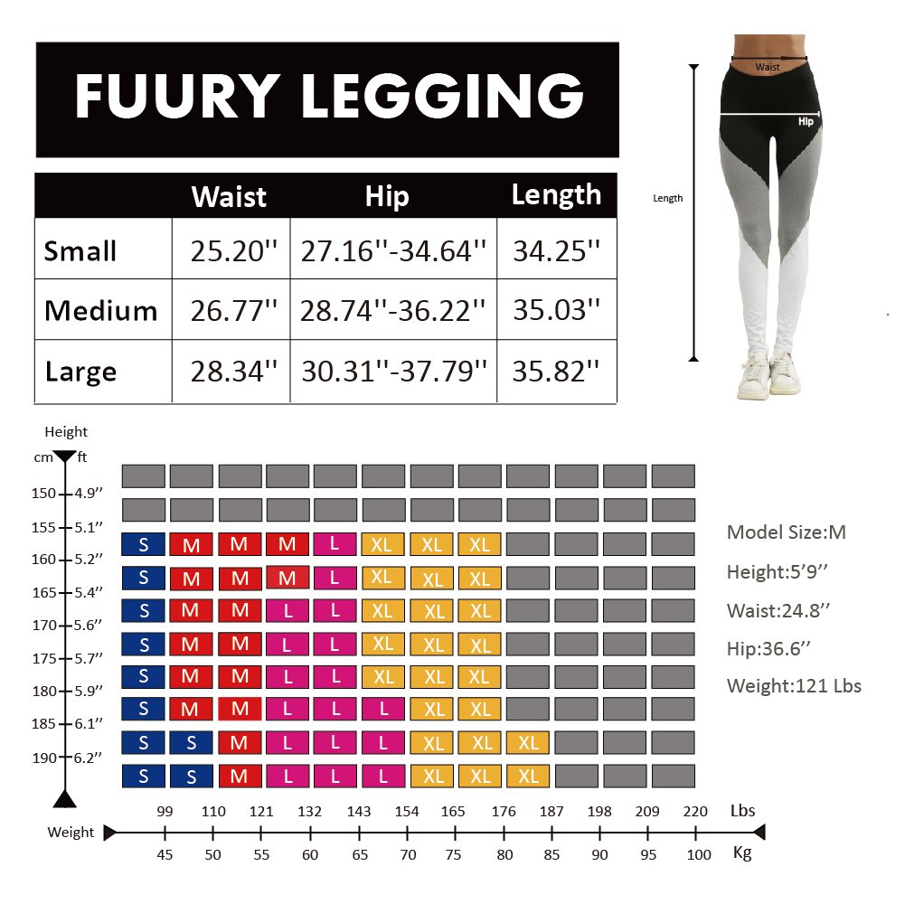 FUURY Womens Workout Legging Yoga Gym Running Fitness Sport Pants Athletic Soft Workout Gym Leggings (Colorblock, M)