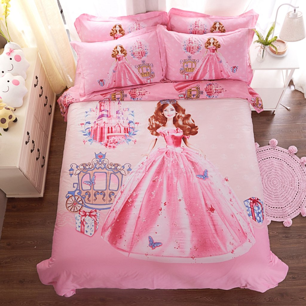 CASA 100% Cotton Kids Bedding Set Boys Princess Barbie Duvet Cover and Pillow Cases and Fitted Sheet, Boys, 4 Pieces, Full