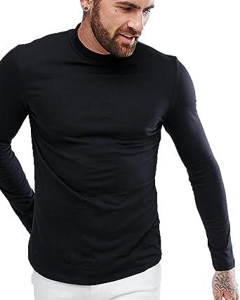 941a1edbbb ZEYO Black Full Sleeves Mens Tshirt Plain Round Neck T-Shirt Regular ...
