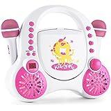 auna Rockpocket A-WH • Karaoke per bambini • Kit karaoke • 2 din. microfoni • Lettore CD • Altoparlante stereo • programmabile • Funzione di ripetizione • Effetto eco • maniglia di trasporto • bianco