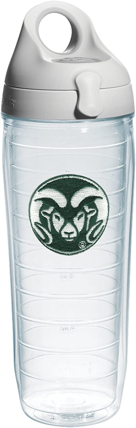 Tervis Colorado State University Emblem Individual Water Bottle with Gray lid, 24 oz, Clear
