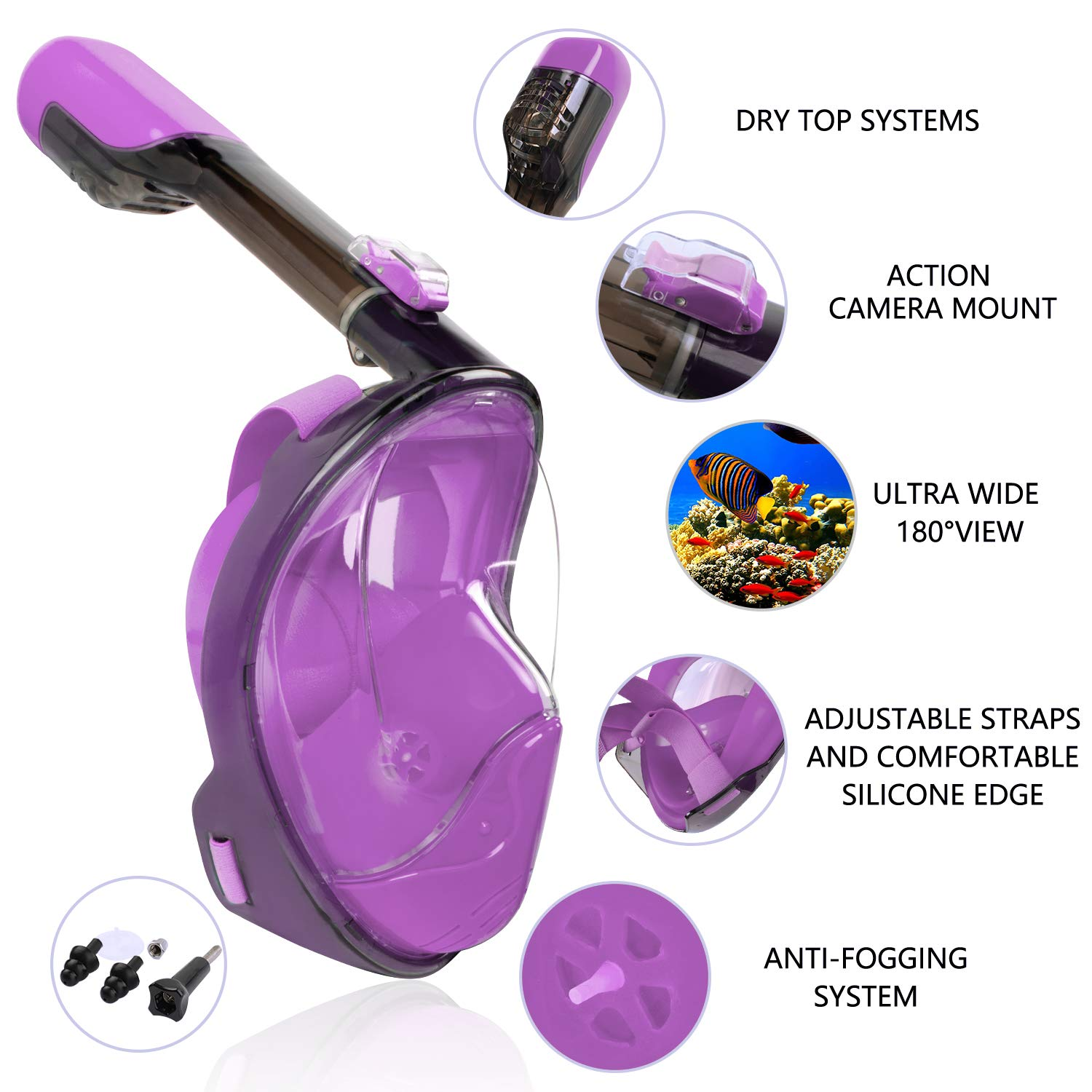 Greatever Snorkel Mask Foldable Panoramic View Full Face Snorkeling Mask with Detachable Camera Mount Dry Top Set Anti-Fog/&Anti-Leak