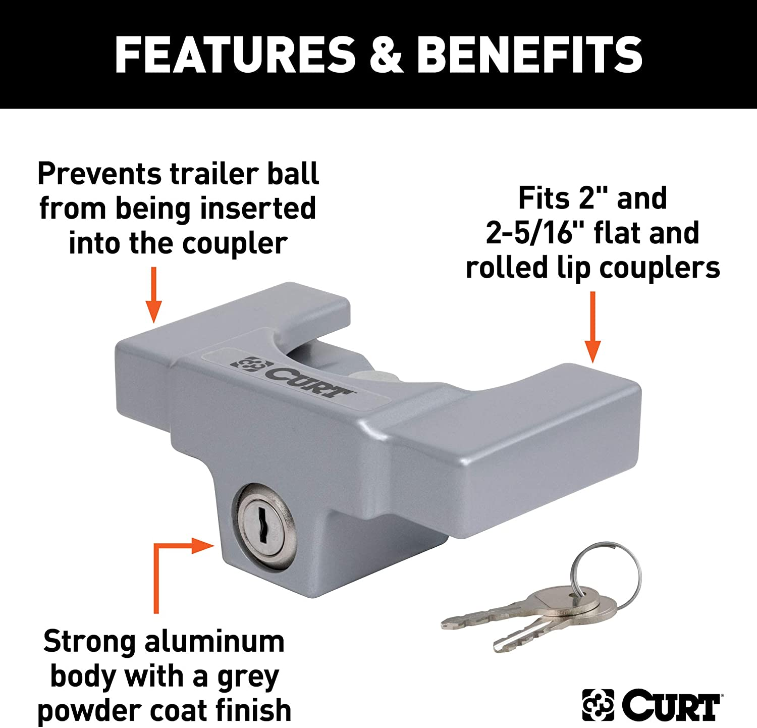 Fits On Specific 2 inches Couplers Only Tyger Auto TG-CL2U006B 2 Coupler Lock for Trailer//RV//Boat Couplers