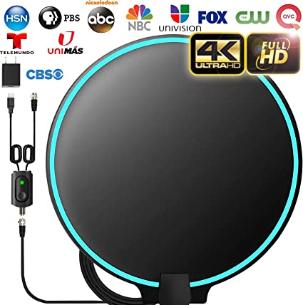 Support 4K 1080p Fire tv Stick and All Older TVs Indoor Powerful HDTV Amplifier Signal Booster Amplified HD Digital TV Antenna Long 120 Miles Range 18ft Coax Cable//AC Adapter 2020 LATEST