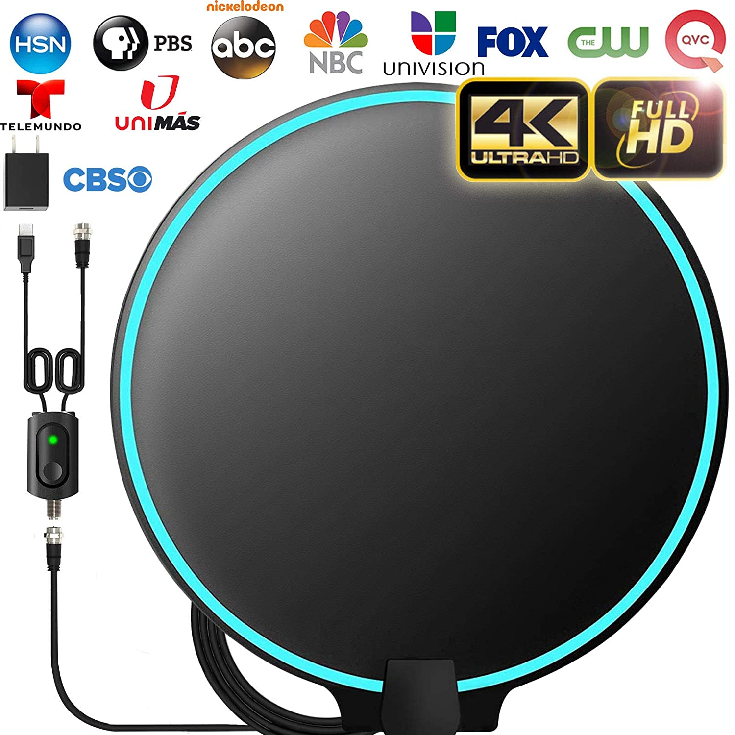 [Upgraded 2020] Amplified HD Digital TV Antenna Long 120 Miles Range - Support 4K 1080p Fire tv Stick and All Older TV's Indoor Powerful HDTV Amplifier Signal Booster - 18ft Coax Cable/AC Adapter