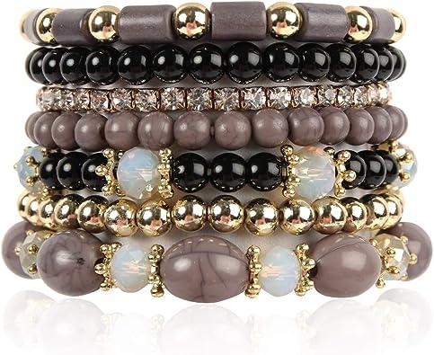 3 Wood /& Shades of Pink Bracelet Set