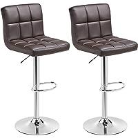 SONGMICS Barhocker 2er Set, höhenverstellbare Barstühle, Barstuhl, 360° Drehstuhl, Küchenstühle mit Rückenlehne & Fußstütze, Lobby, Tresen