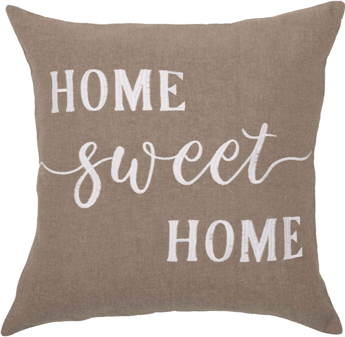 "Home Sweet Home Throw Pillow Cover, 20"" x 20"", Farmhouse Style Accent Pillow with Embroidered Lettering"