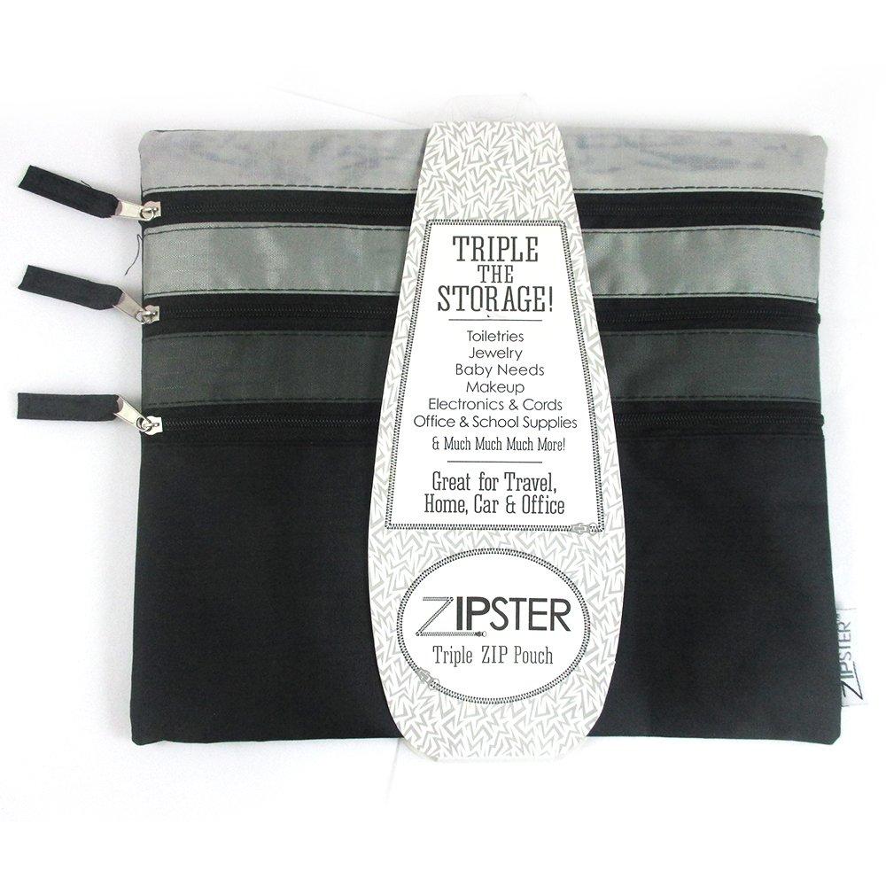トリプルファスナー付きポーチTravel Cosmetic BagメイクアップケースToiletryクーポンオーガナイザー   B015Q5MUMO