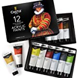 Castle Art Supplies Large Acrylic Paint Set - 12 Big 75ml Tubes for Beginners, Artists or Students - for Canvas, Wood, Cerami