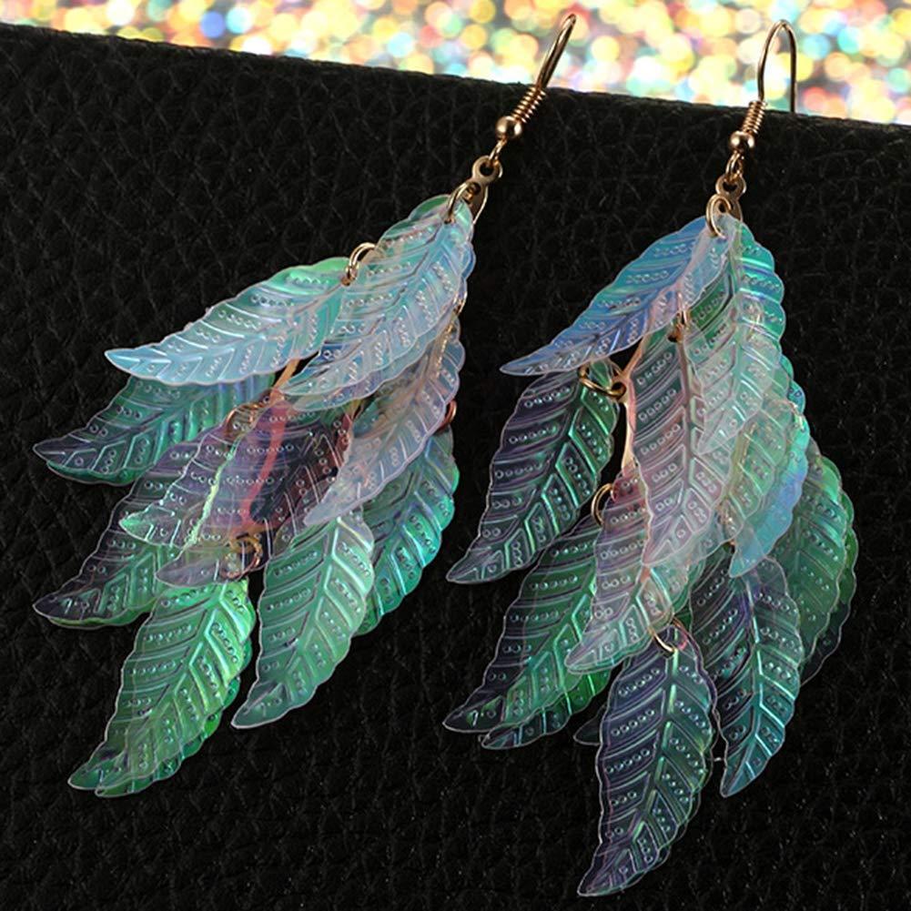 Babasee Leaf Pattern Earrings Multicolor Leaf Cluster Drop Dangle Earrings For Women Girls
