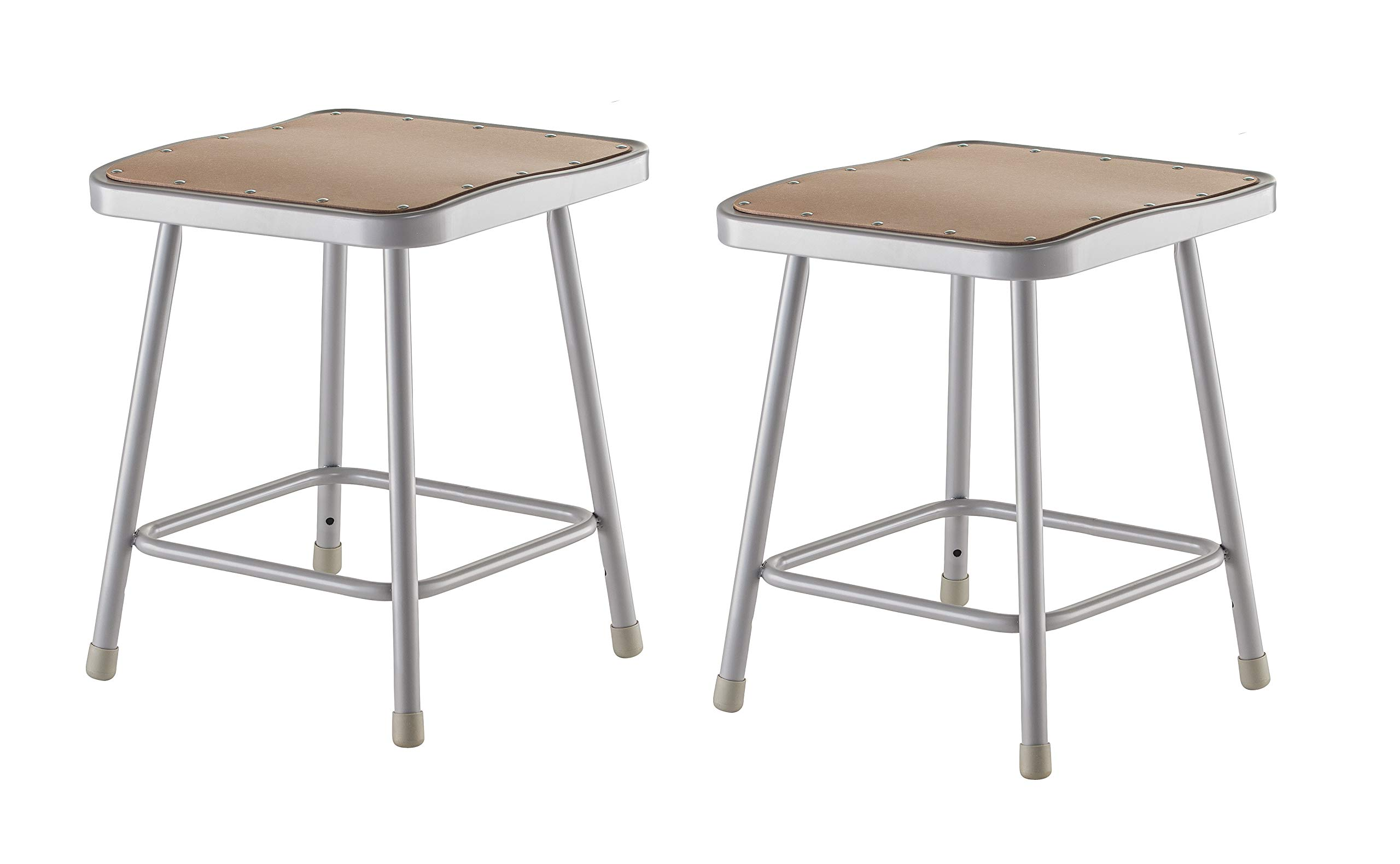 National Public Seating 6318-CN Steel Stool with Square 18'' Hardboard Seat, Grey (Pack of 2)