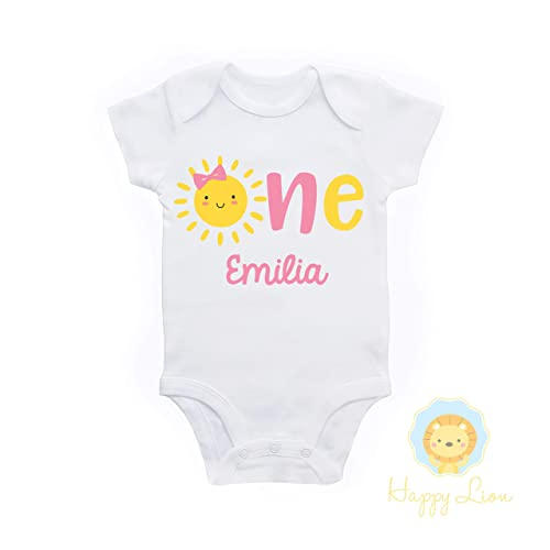9db7045c2 Amazon.com: Happy Lion Clothing - Our Little Sunshine, You are my Sunshine  first 1st Birthday outfit, personalized custom baby girls Sunshine Birthday  ...