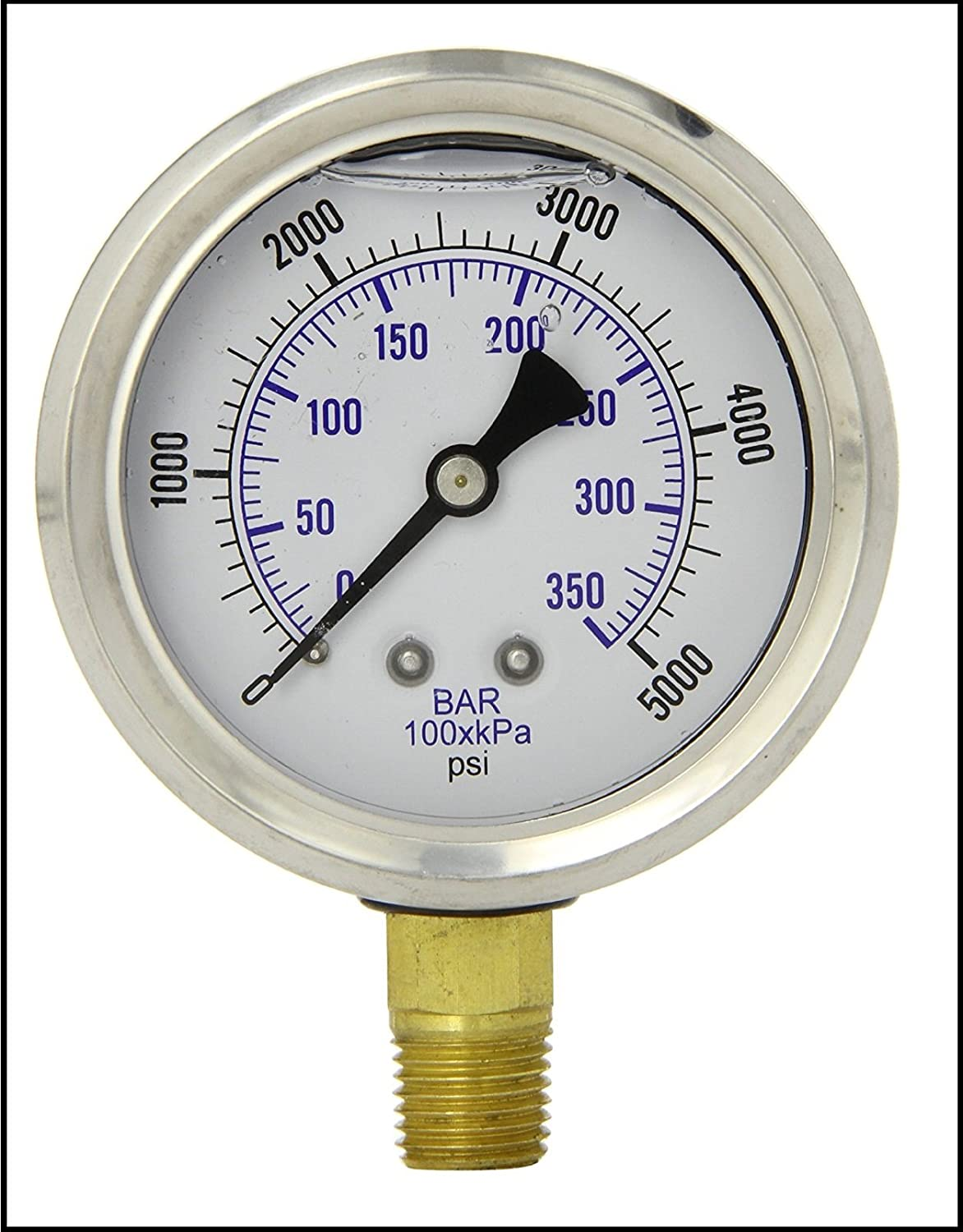 LIQUID FILLED PRESSURE GAUGE 2.5 DIAL DISPLAY STAINLESS STEEL CASE BRASS INTERNALS 1 4 MALE NPT LOWER MOUNT CONNECTION DUAL SCALE PSI BAR 0 5000