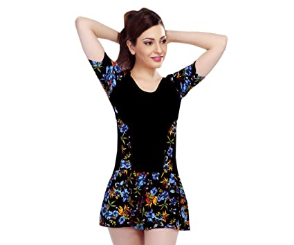 e9df7bb4a Goodluck Lycra Swimming Costume for Womens Half Sleeves Multi-Coloured  One-Piece Suits (
