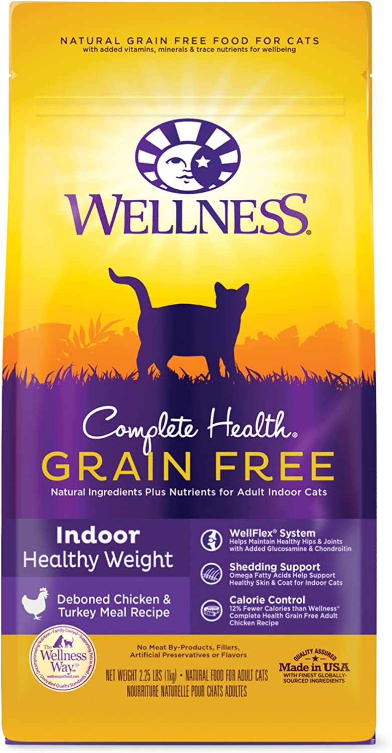 Wellness Complete Health Grain-Free Indoor Healthy Weight Chicken Recipe Dry Cat Food, 2.25 Pound Bag