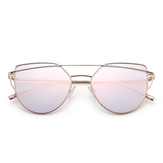 5e9ec1628d3 Retro Cat Eyes Sunglasses Oversized Flat Mirrored Lens Twin Beam Frame Women  Men (Gold   Flash Pink)  Amazon.ca  Clothing   Accessories