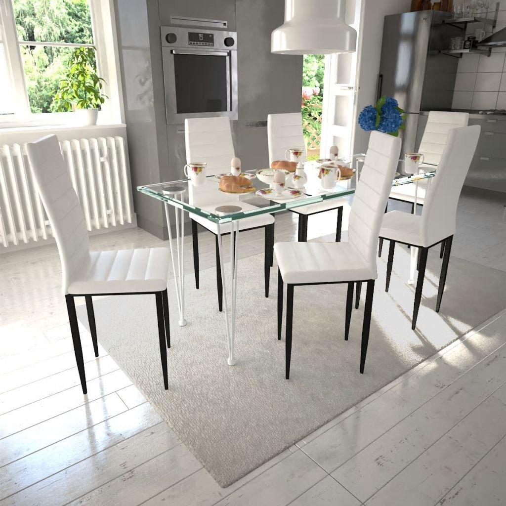Vidaxl Chaise De Salle A Manger 6 Pcs Avec Design Fin Blanc