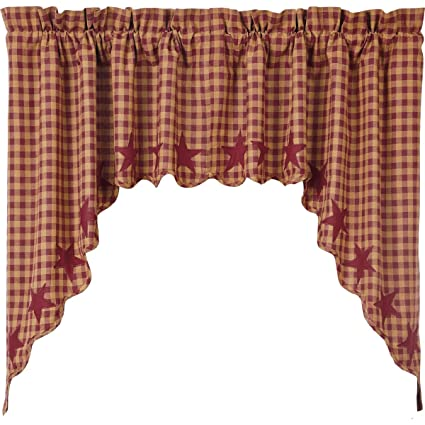 VHC Brands Classic Country Primitive Kitchen Window Curtains - Star Red  Scalloped Swag Pair Burgundy