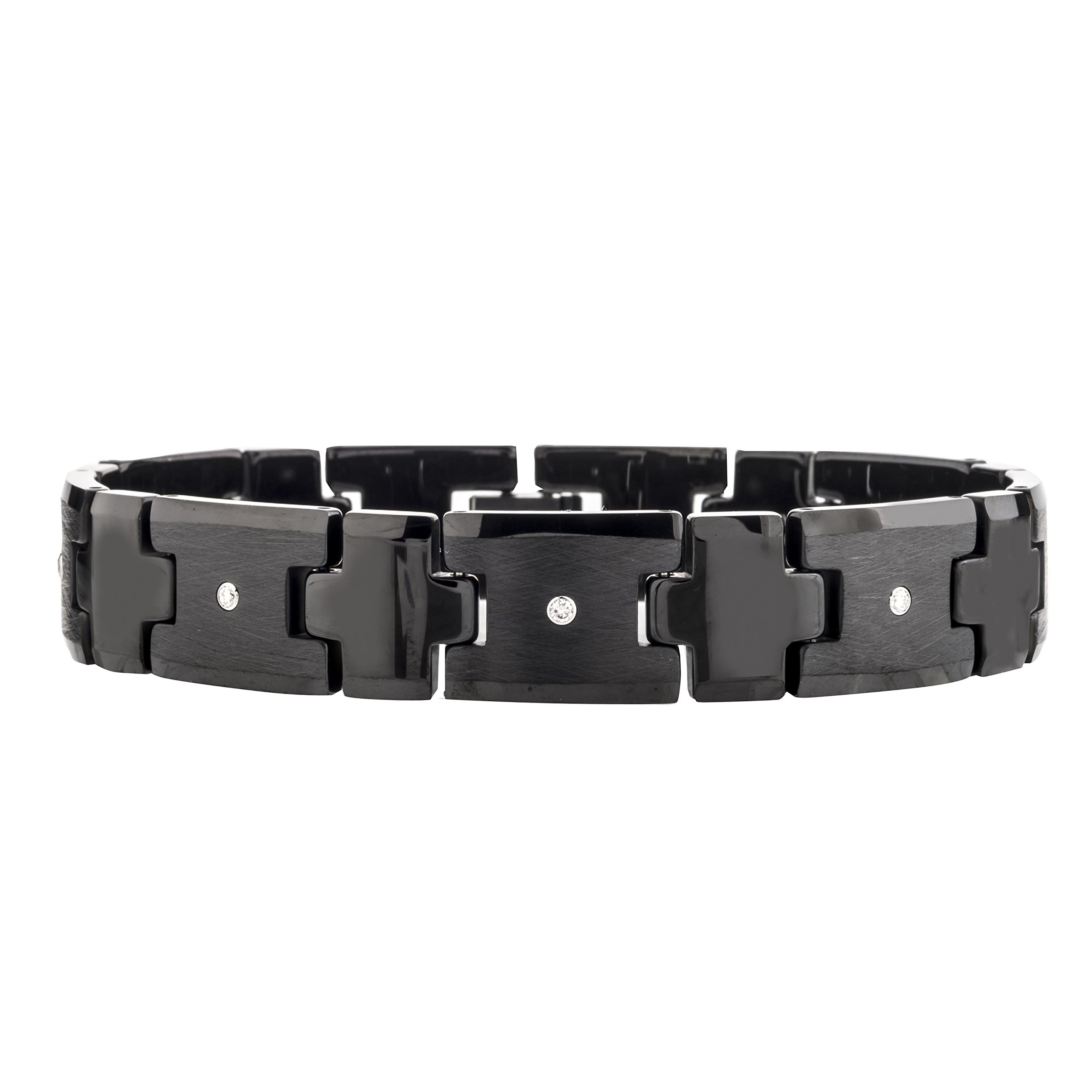 Mens Diamond Tungsten Carbide Bracelet (0.20 carats, H-I I2) (Black)