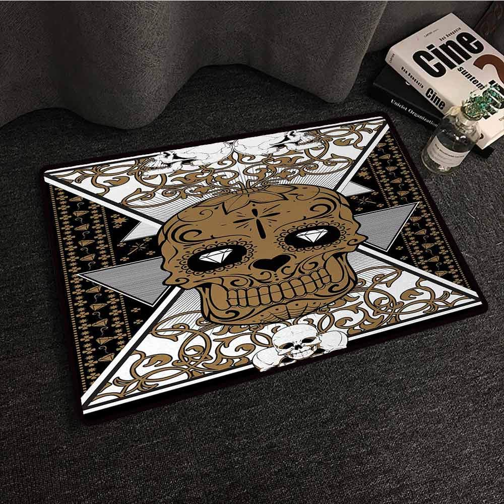DuckBaby Outdoor Doormat Tattoo Skull with Diamond Eyes and Floral Theme Vine Art Tattoo Renaissance Inspired Hard and wear Resistant W31 xL47