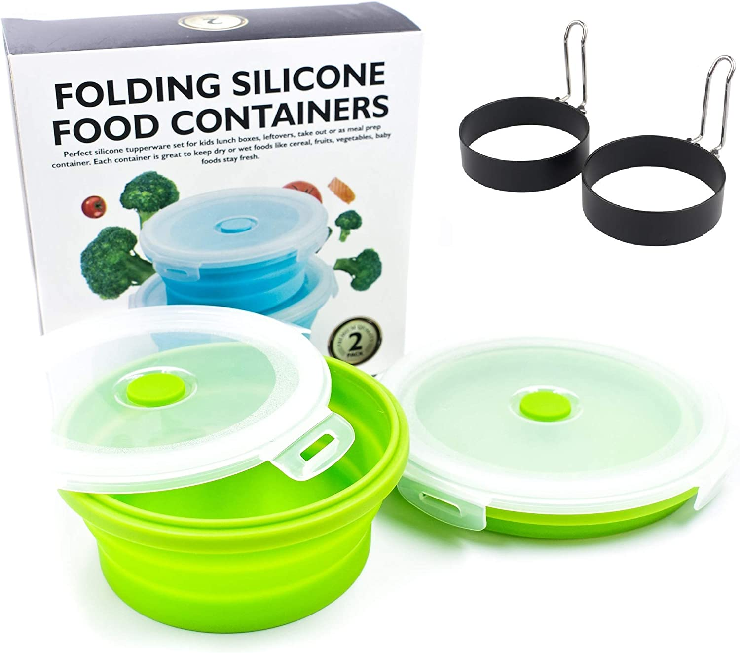 Thin Bins Collapsible Containers 2 Pieces Egg Ring & 2 Pieces Round Silicone Food Storage Containers – BPA Free, Microwave, Dishwasher and Freezer Safe (Green)