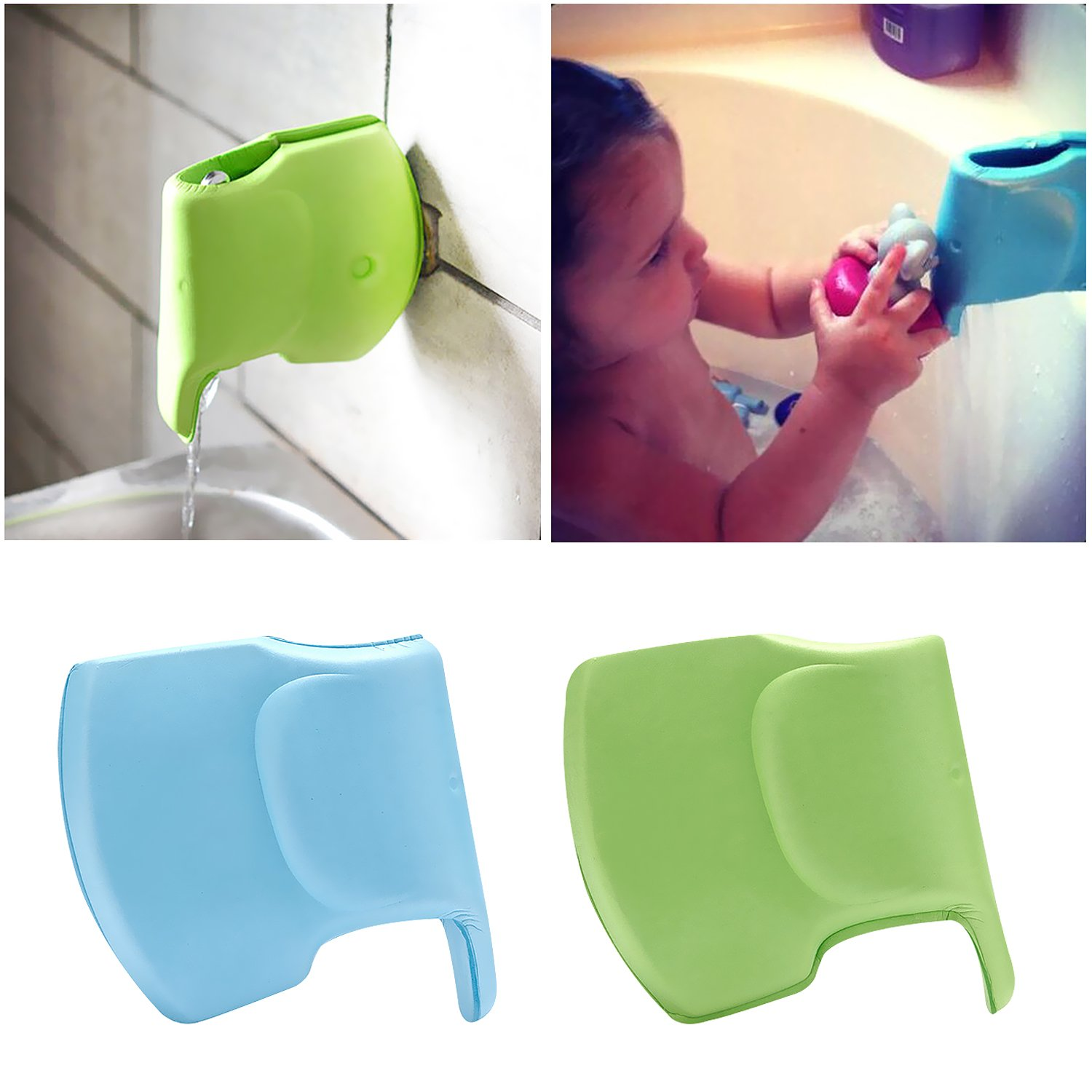 2 Pack Bath Spout Faucet Cover for Baby Safety, Tub Faucet Extender Protector for Baby, Elephant Shape Bathtub Cover Bath Toys for Kids, Soft and Flexible Faucet Cover NewCool 001-ELE-1