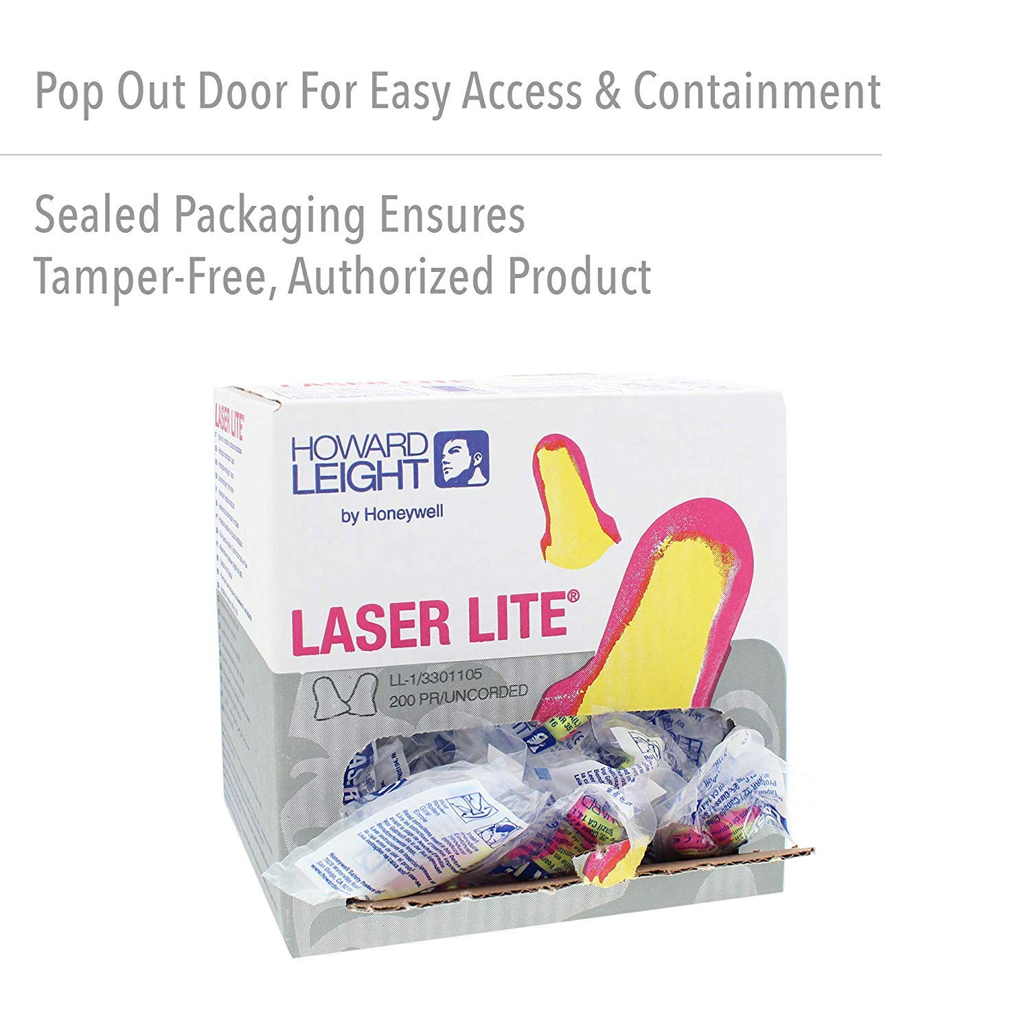 Howard Leight by Honeywell Laser Lite High Visibility Disposable Foam Earplugs, (LL-1), Pink/Yellow - 3301105 (400-pairs)