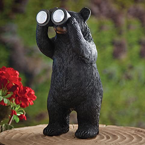 Bits And Pieces Garden Décor Bear With Binoculars Solar Statue For Lawn,  Patio,