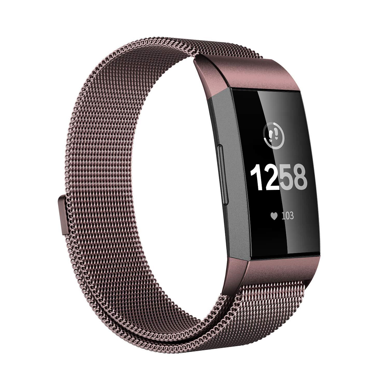 Issmolog 交換用バンド Fitbit Charge 3対応 ステンレススチール製 ミラネーゼループ 調節可能なマグネット留め Fitbit Charge 3用バンド マルチカラー B07JJ6JFS6 コーヒー Large