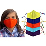 DSCOVER Kids Cloth Face Mask with Adjustable Ear Loops, 5 Pack 100% Cotton Washable & Reusable Colourful Kids Face Masks