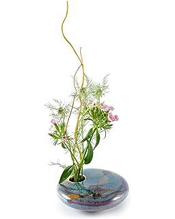 Amazon Com Georgetown Pottery Round Ikebana Flower Vase Dark Purple Zen Home Kitchen