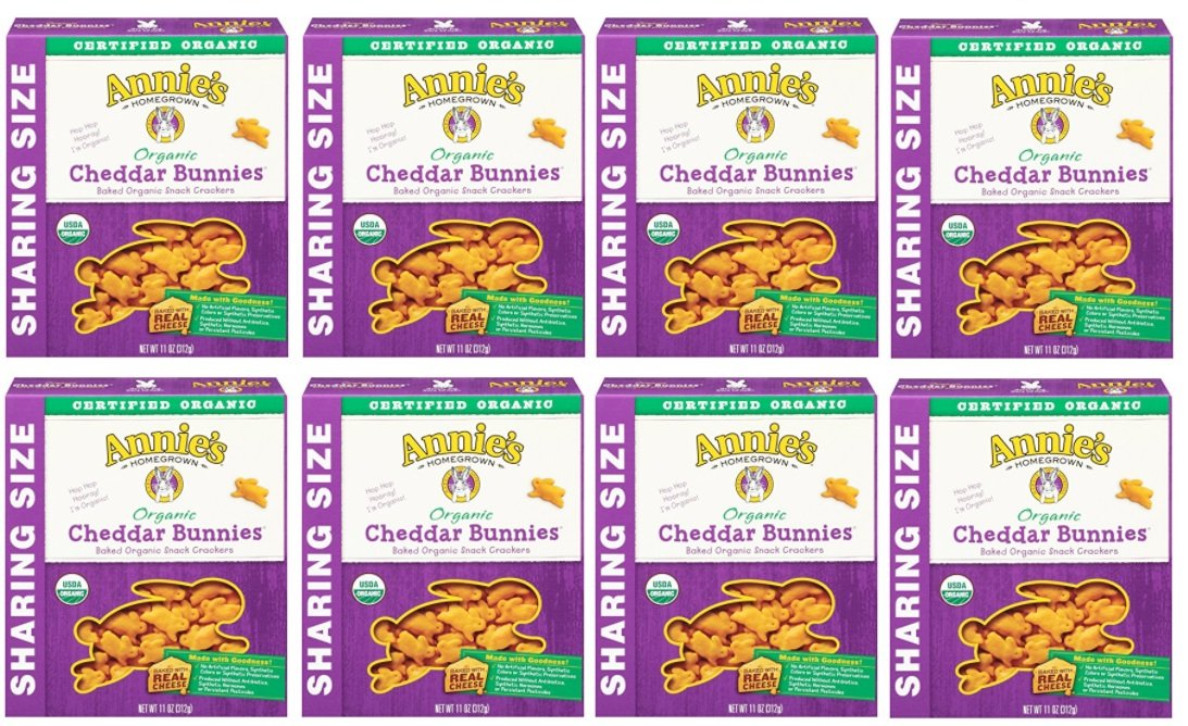Annie's Organic Cheddar Bunnies, Baked Snack Crackers, 11 oz Box (Pack of 8)