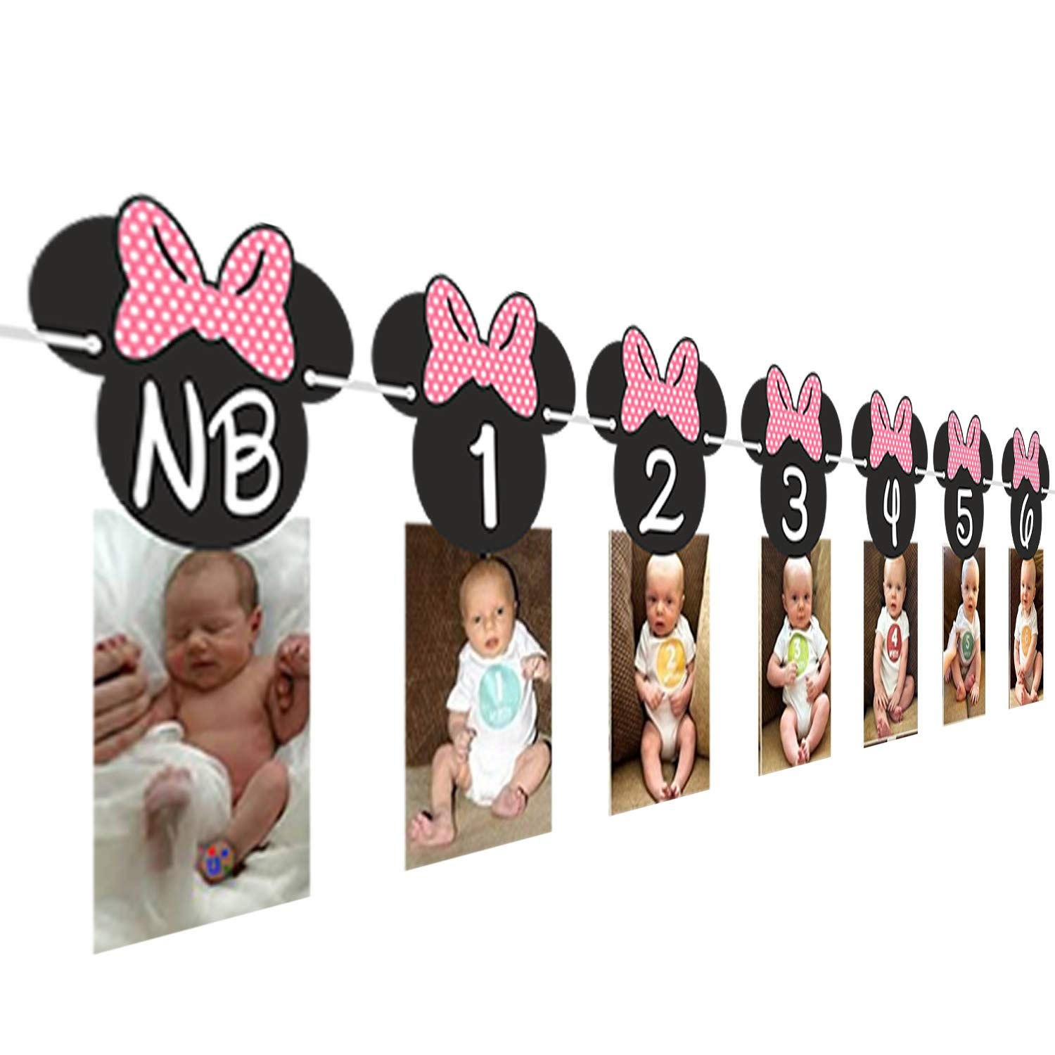 Minnie Mouse 12 month photo Banner[Hot Pink] | Photo Birthday Banner | Minnie mouse birthday Banner |Minnie mouse party supplies|Minnie mouse ...