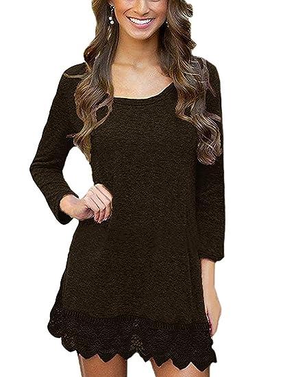 d6722845cb46f MiYang Women's Long Sleeve A-line Lace Stitching Trim Casual Dress XS Brown