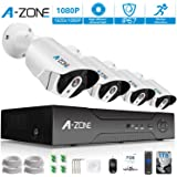 A-ZONE Security Camera System 4 Channel 1080P NVR 4x1080P HD IP PoE Outdoor /Indoor 3.6mm Fixed lens IP67 Waterproof Bullet Cameras with IR Night Vision LEDs Home CCTV Video Surveillance Kit- 1TB HDD