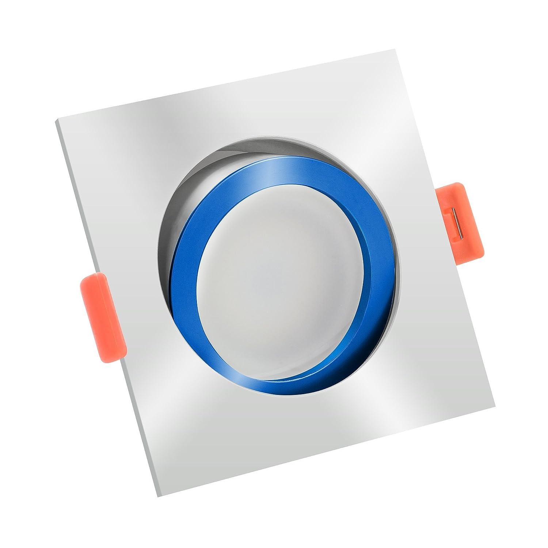 LUXVENUM®   10x dimmbare LED Einbaustrahler   GU10 230V   Höhere Farbwiedergabe als die meisten LED-Strahler Ra  90   Cri 90   6W statt 50W   2700 Kelvin 400 Lumen   Eckige Leuchtdiode aus Chrom-poliertem & blauem Aluminium, bicolor   120° Ab