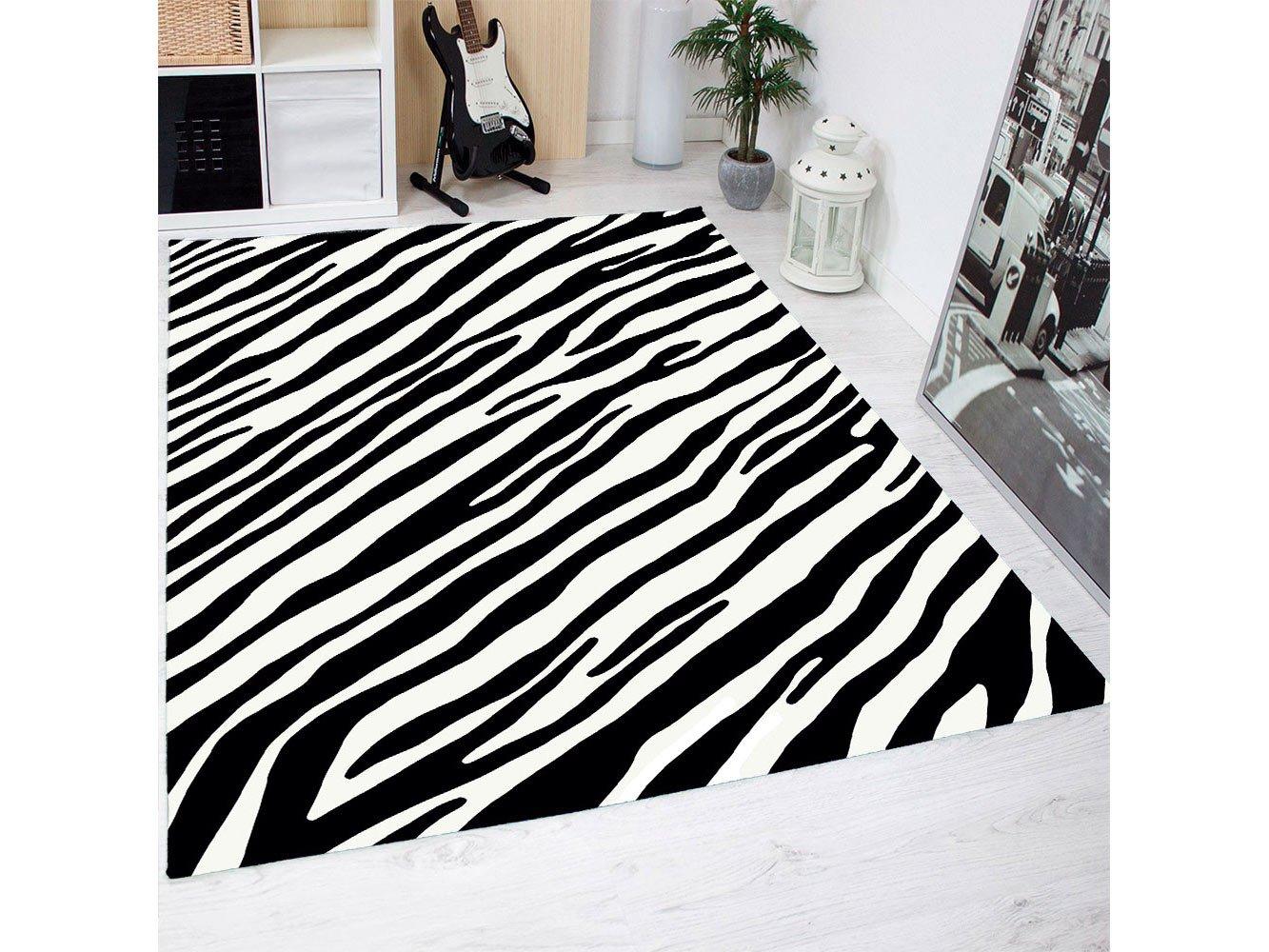 Alfombra Estampado Piel Cebras PVC | 95 cm x 95 cm | Moqueta PVC | Suelo vinilico | Decoració n del Hogar Oedim