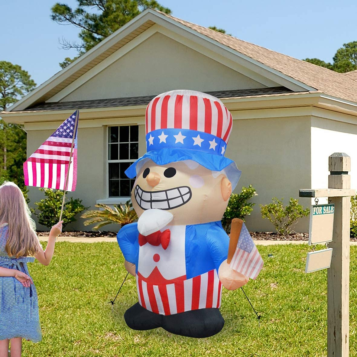 GOOSH 6.3 ft Tall Independence Day Inflatable Uncle Sam with Star Spangled Top Hat and American Flag Blowup Inflatables with Build-in LED Lights for Party Indoor,Outdoor,Yard,Garden,Lawn Decorations