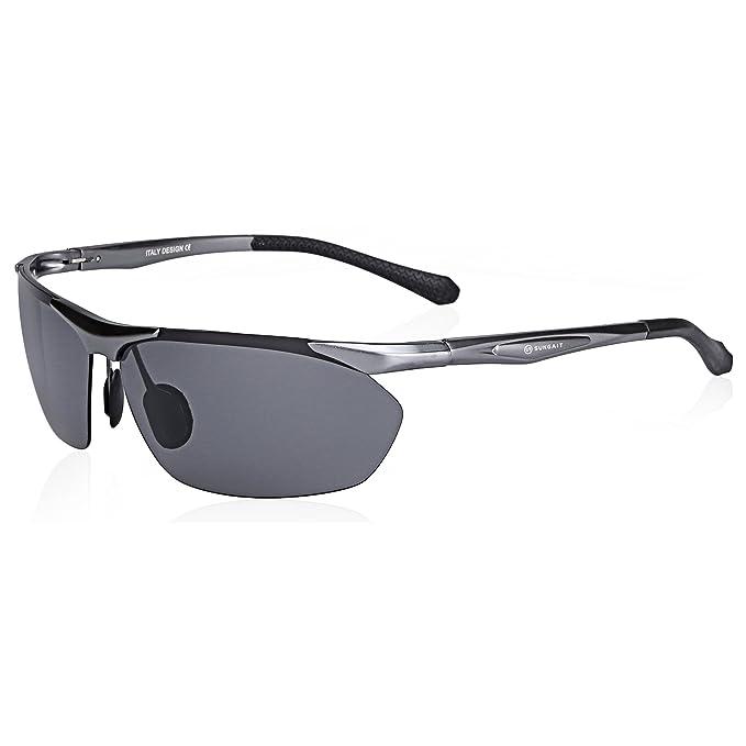 a013e48da5 SUNGAIT Men s Fashion Sports Polarized Sunglasses for Cycling Running Golf  - UV400 (Gunmetal Frame Gray