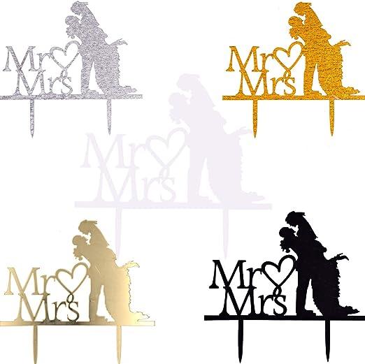 WENTS 5 piezas Acr/ílico de Novios Mr y Mrs para Fiesta Boda Tartas Decoraciones para Fiesta de Aniversario Fiesta San Valent/ín Mr y Mrs Cake Topper