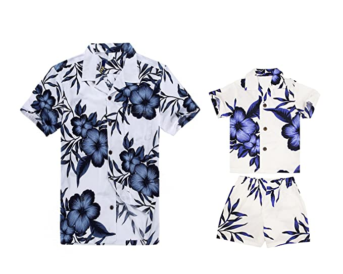 efe4eaa97 Matching Father Son Hawaiian Luau Outfit Men Shirt Boy Shirt Shorts White  with Navy Floral: Amazon.co.uk: Clothing