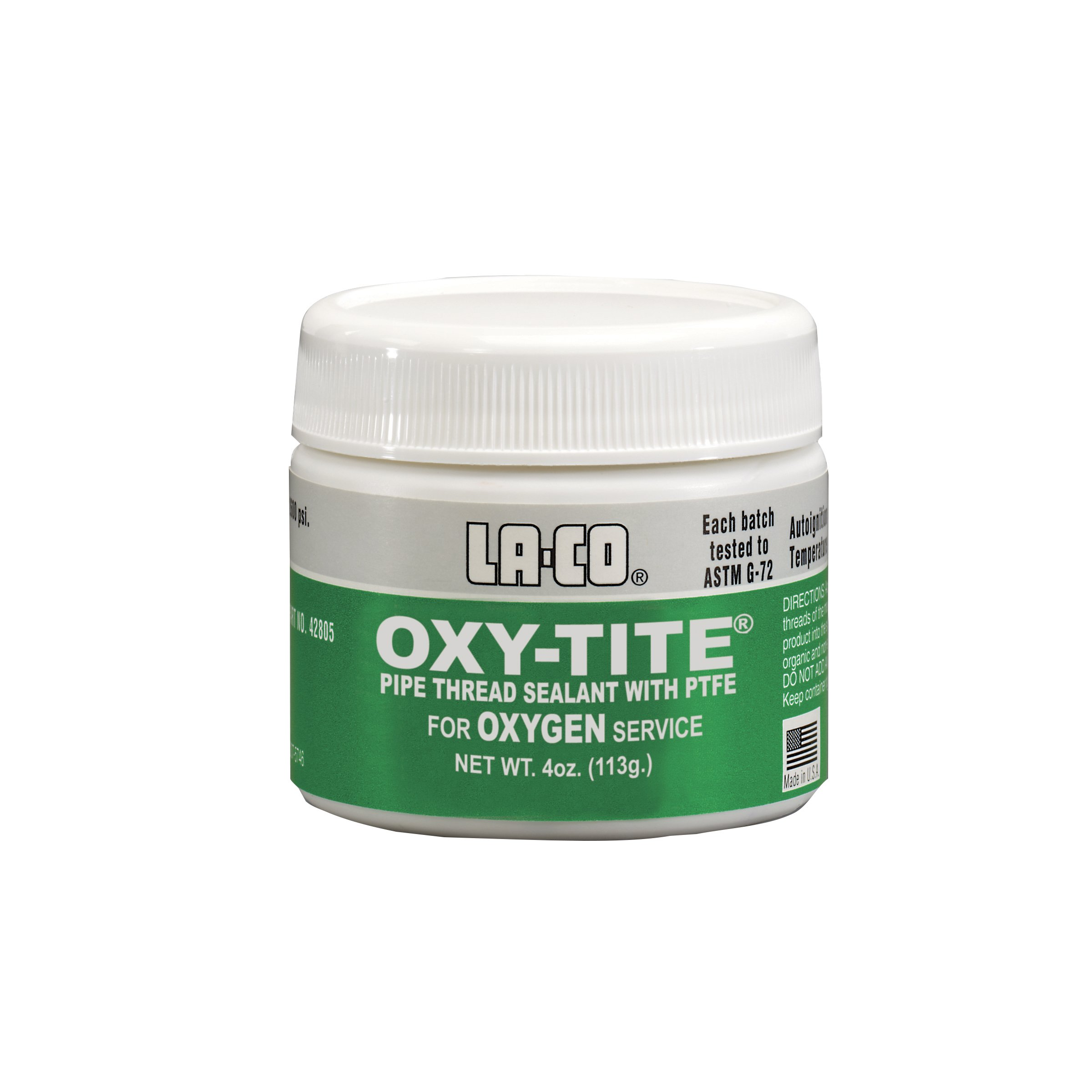 LA-CO Oxy-Tite, Premium Pipe Thread Sealant Paste with PTFE, -320 to 450 Degree F Temperature, 4 oz