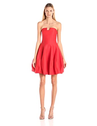 Halston Heritage Women's Silk Faille Strapless Structured Dress With Notch  Neck, Lipstick, ...