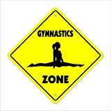 "Gymnastics Crossing Sign Zone Xing | Indoor/Outdoor | 12"" Tall sport gym award trophy team funny gag gym"